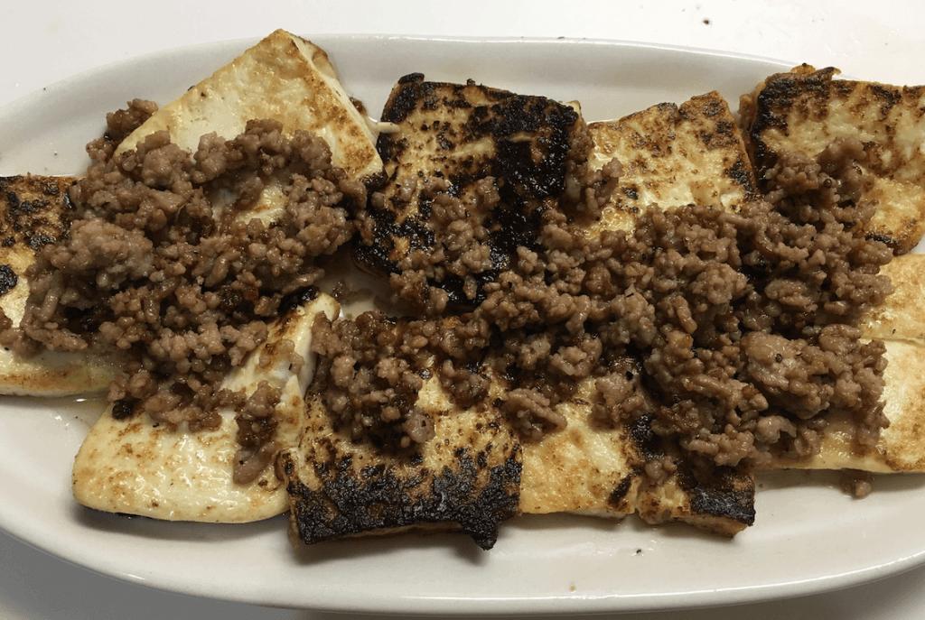 ひき肉あんかけの豆腐ステーキ